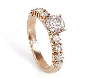 On sale!!! Diamond Engagement Ring 1.30 ct-14K white Gold-Promise ring-diamond engagement ring-Anniversary ring- Art nouveau engagement ring