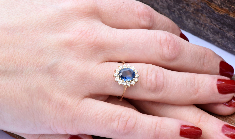Diamond ring with Sapphire-Blue Sapphire-1 ct Blue Sapphire ...