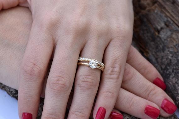 Bridal Set Rings Yellow Gold Diamond Wedding Set 1 50 Etsy