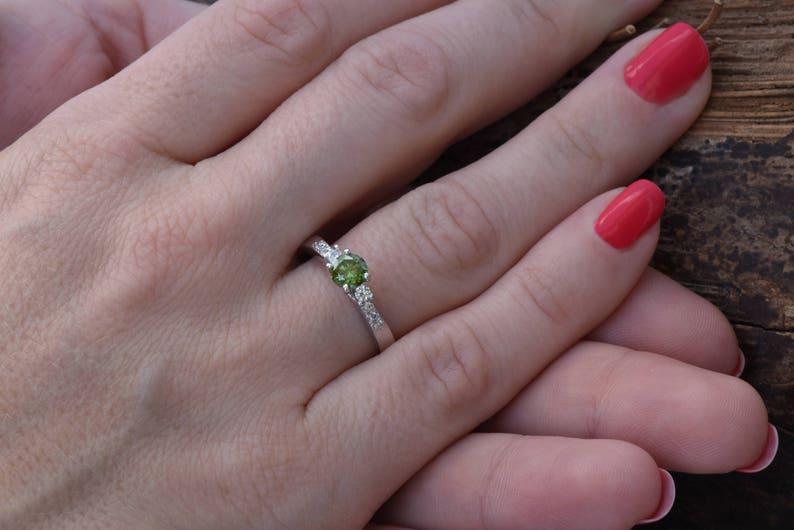 Cluster engagement ring-Art nouveau ring-Unique Diamond image 0