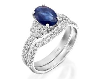 Bridal set rings white gold-Cluster wedding ring set-Custom Ring-Sapphire engagement ring-Sapphire wedding ring set-White Gold Ring