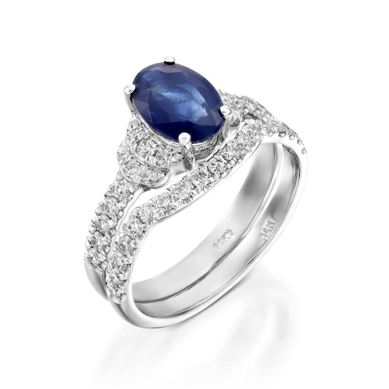 97641bf26c191 Bridal set rings white gold-Cluster wedding ring set-Custom Ring-Sapphire  engagement ring-Sapphire wedding ring set-White Gold Ring