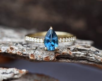 Tourmaline engagement ring-Yellow Gold Ring-Blue tourmaline ring-Anniversary present-Promised ring-Pear shape tourmaline-Unique ring-For her