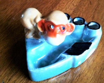 Vintage Lusterware Monkey Figurine Ashtray Cigarette Holder Made in Japan Tobacciana Porcelain Father's day