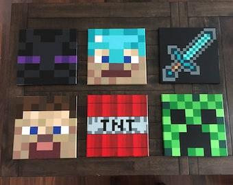 Minecraft Inspired Wall Decor Set of 6