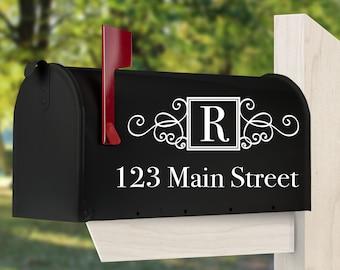 MAI-40 Personalized SET of 2 mailbox decals Farmhouse Monogram Style