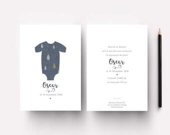 "Faire-part de naissance ""Oscar"" tissu denim"