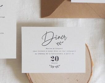 Carton dîner mariage - Collection Encre