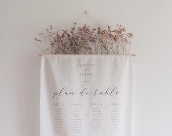 Plan de table mariage tissu - Modèle Organique