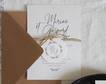 Étiquette Collection Encre pour faire-part de mariage