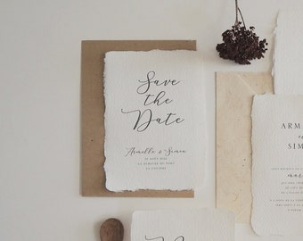 Save the date mariage papier artisanal - Collection Organique