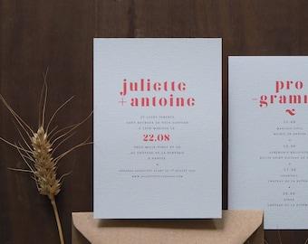 Faire-part mariage - Collection Rouge Amour