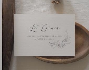 Carton d'invitation dîner - Collection mariage Organique