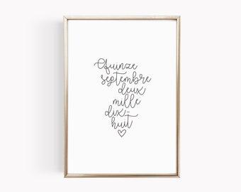 Affiche personnalisée à la date de votre mariage