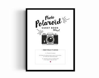 Affiche mariage Polaroïd personnalisable, modèle kraft