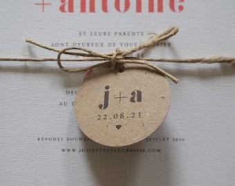 Étiquette Collection Rouge Amour pour faire-part de mariage