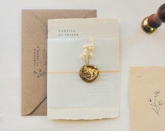 Faire-part mariage papier artisanal - Collection Intemporelle