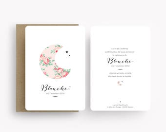 "Birth announcement ""Blanche"", with shabby moon"