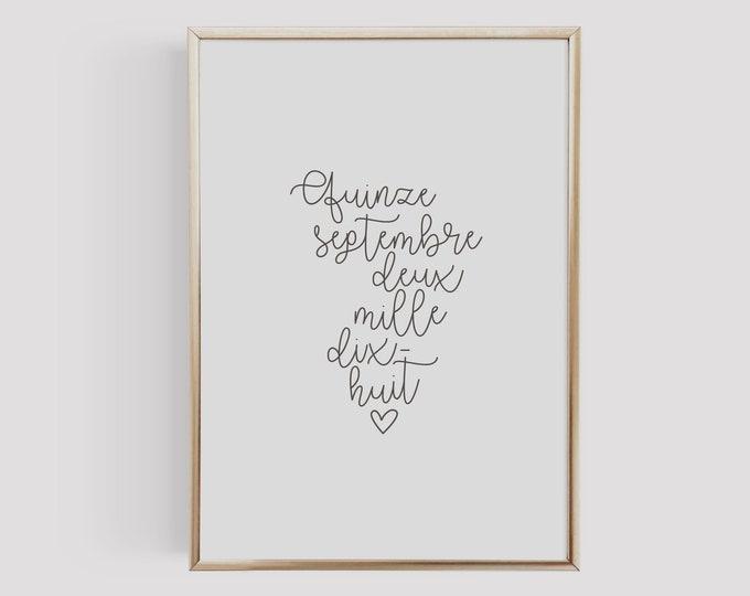 Featured listing image: Affiche personnalisée à la date de votre mariage