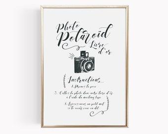 Affiche mariage Polaroïd personnalisable, modèle Kinfolk
