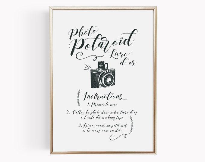 Featured listing image: Affiche mariage Polaroïd personnalisable, modèle Kinfolk