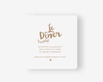 Wedding announcement - Kraft collection - invitation card for dinner - Nature bohemian chic