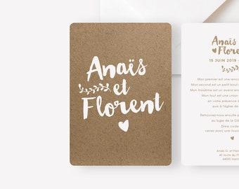 Wedding announcement - Kraft collection - nature, bohemian, chic