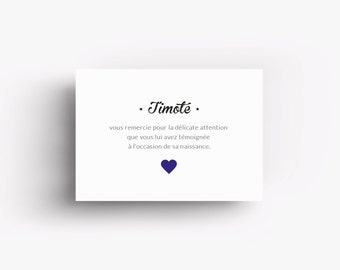 "Thank you card ""Timoté"" with printed heart"