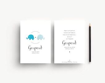"""Faire-part de naissance """"Gaspard"""", lot de 10"""