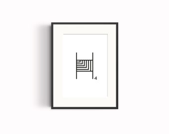 "Wall art, ""H"" typography poster"
