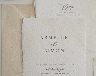 Faire-part mariage papier artisanal - Collection Organique