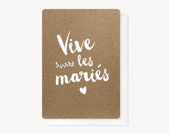 Vive les mariés, congratulations card