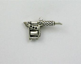 Tattoo gun pendant etsy sterling silver 3 d tattoo gun charm mozeypictures Gallery