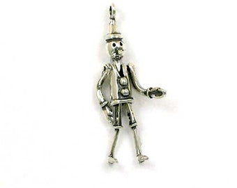 Look Tin Man Wizard Of Oz Gold Plated Over Reals Sterling Silver Charm Pendant Charms & Charm Bracelets