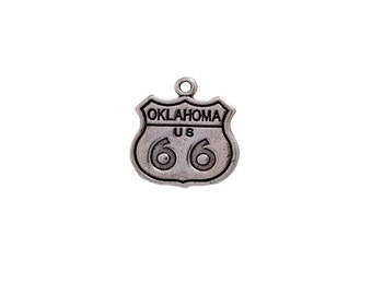Sterling Silver 3D Arizona Route 66 Sign Travel Road Trip Charm