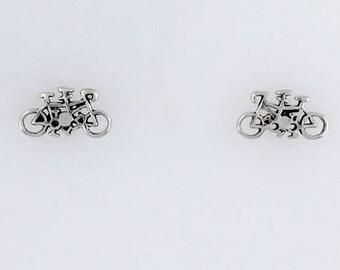 Sterling Silver Tandem Bike Post or Stud Earrings