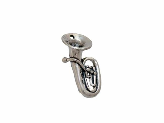 Tuba Charm Sterling Silver for Music or Band Themed Jewelry Designs