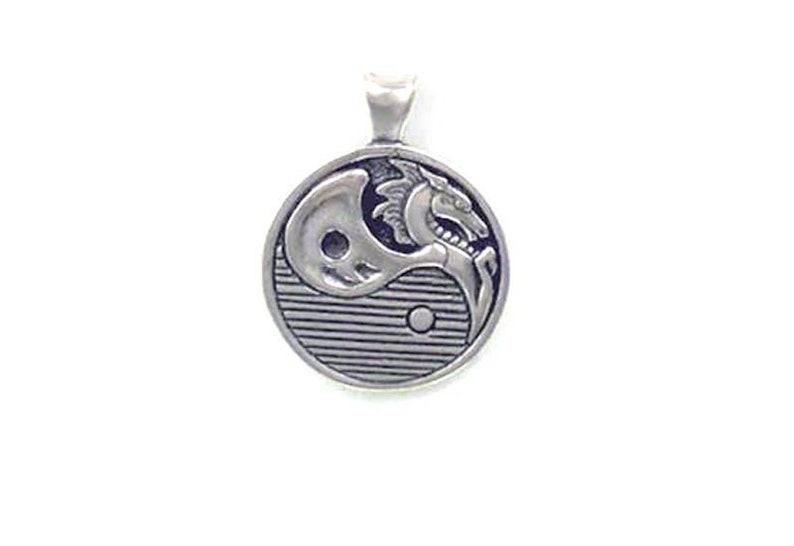 Sterling Silver Yin Yang Dragon Pendant