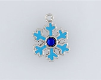 Sterling Silver Enameled Snowflake Charm