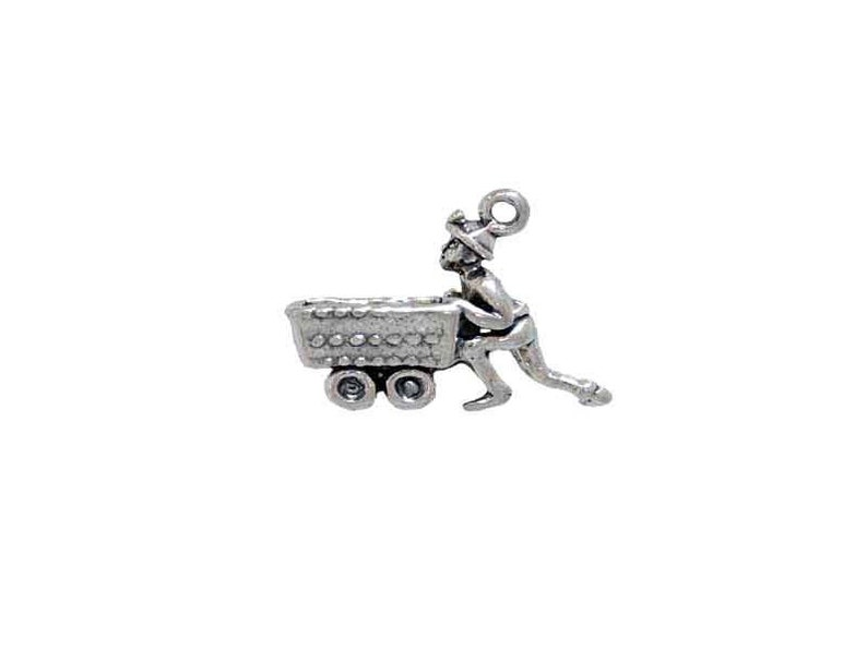 Miner /& Coal Cart Silver Charm for Occupational Themed Jewelry Making
