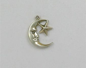 Sterling Silver 12mm Moon & Star Charm