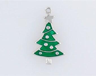 Sterling Silver Enameled Christmas Tree Charm