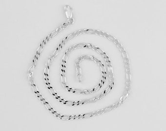 925 Sterling Silver Italian 3mm Figaro Chain, Choice of Length