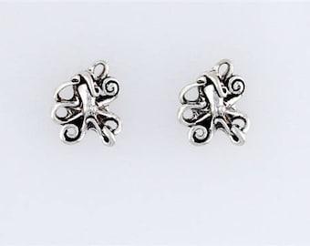 Sterling Silver Octopus Post or Stud Earrings