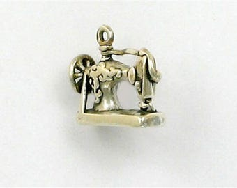Sterling Silver 3-D Antique Sewing Machine Charm