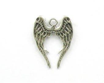 Sterling Silver 3-D Angel Wings Charm
