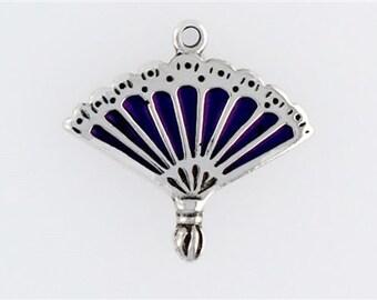 Sterling Silver 3-D Enameled Fan Charm