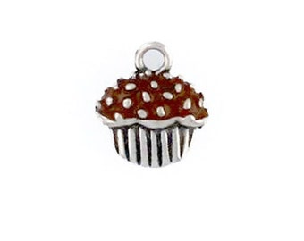 Sterling Silver Enameled Chocolate Cupcake Charm