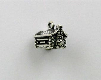 Sterling Silver 3-D Log Cabin Charm