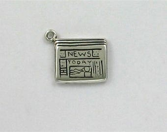 Sterling Silver 3-D Newspaper Charm